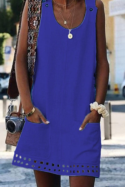 Daily Round Neck Sleeveless Hollow Solid Color Dress