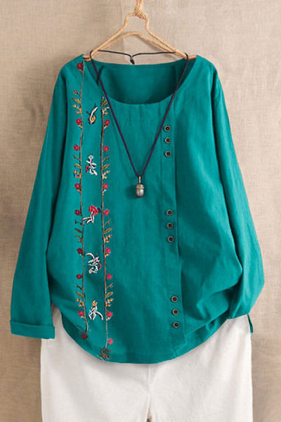 Round Neck Long Sleeve Floral Blouse