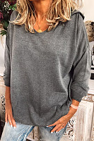 Hat Collar Loose-Fitting Plain Sweater