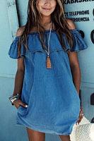Off Shoulder  Flounce  Plain Casual Dresses