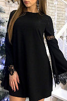 Round Neck  Patchwork  Bell Sleeve Casual Dresses