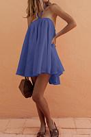 Tie Collar  Asymmetric Hem  Plain  Short Sleeve Casual Dresses