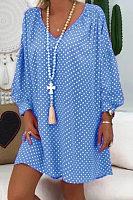 Casual V-Neck Lantern Long Sleeve Polka Dot Print Dress