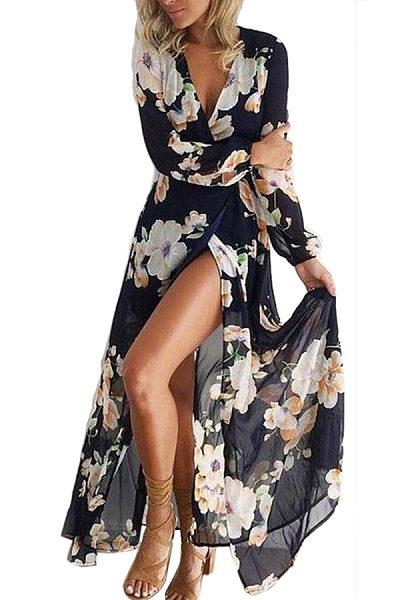 V Neck  Asymmetric Hem  Floral Printed  Long Sleeve Maxi Dresses