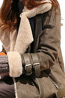 Locomotive Style Deerskin Lamb Hair Coat