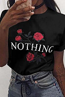 Round Neck  Floral Printed Letters T-Shirts