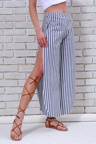 Side Slit  Belt  Striped  Sexy Pants