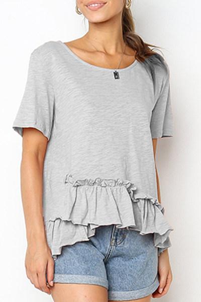 Round Neck  Ruched  Plain T-Shirts