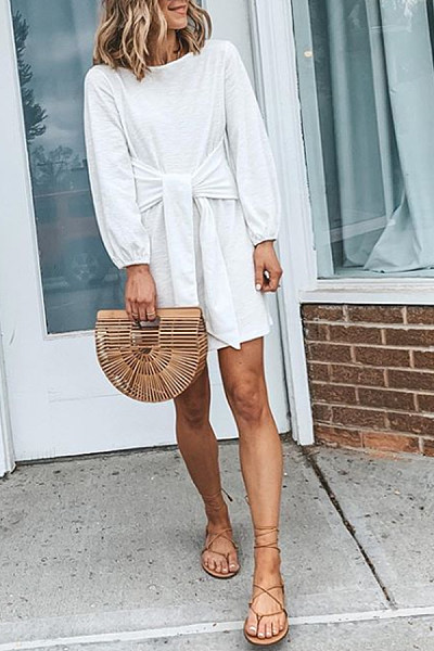 Casual Solid Color Round Neck Long Sleeve Waist Lace Dress