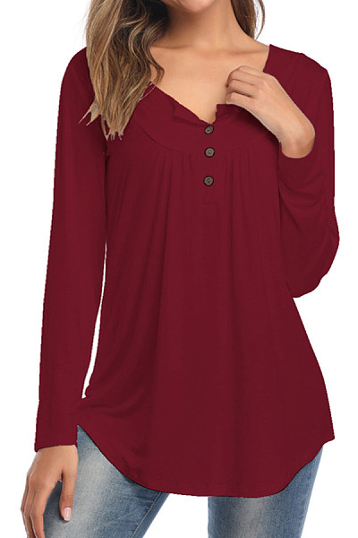 Round Neck Buttons Long Sleeve T-shirt