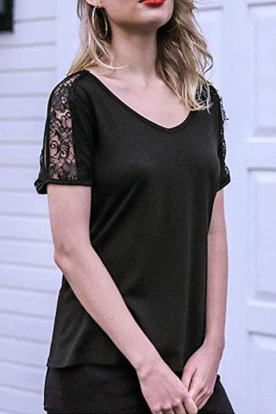 V Neck  Lace Plain T-Shirts