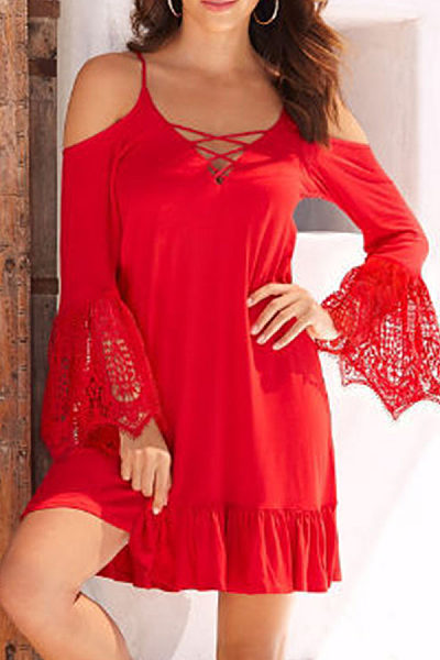 Spaghetti Strap  Lace Up Ruffled Hem  Patchwork Casual Dresses