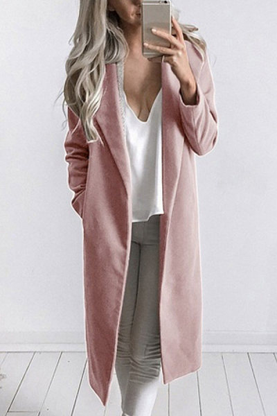 Fold Over Collar  Snap Front  Plain Outerwear