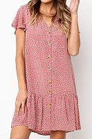 V Neck  Ruffled Hem Single Breasted Casual Dresses