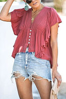 Summer New V-Neck Short-Sleeved Sweet Top