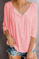 V Neck  Decorative Buttons  Plain T-Shirts