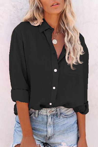 Solid A Lapel Long Sleeve Blouse