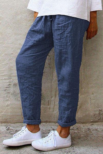 Plus Size Solid Color Elastic Waist Loose Casual Harem Pants