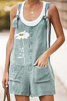 Retro Print Pocket Lace Cotton Jumpsuit