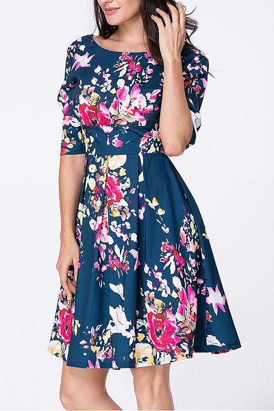 Blue Boat Neck Floral Skater Dress
