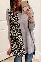 Round Neck Leopard Splice T-shirt