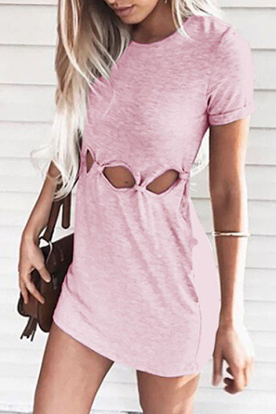 Round Neck Short Sleeve Hollow Out Plain Bodycon Dresses