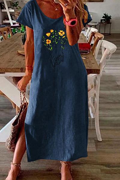 Simple Printed Hem Split Dress
