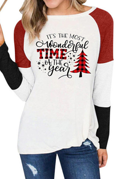 Round Neck Long Sleeve Colouring Printed T-shirt