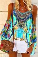 Bohemian Printed Open Shoulder Collar Top