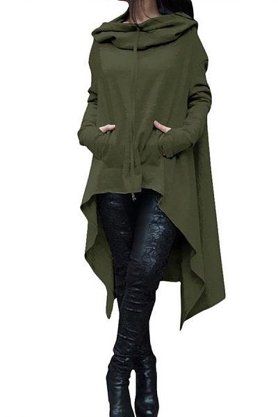 Hooded  Asymmetric Hem Drawstring  Plain Sweatshirts