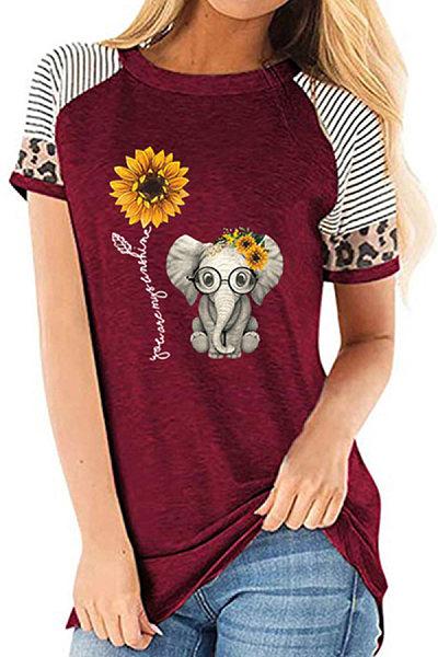 Round Neck Print Short Sleeve T-shirt
