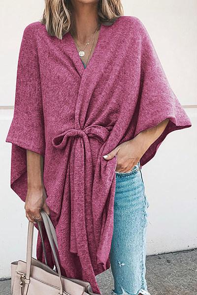 Women's Irregular Belted Pure Color Knit Midi Bucket Cardigan