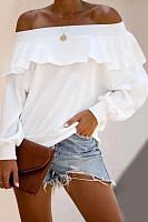 Fashion Word Collar Long Sleeve Solid Color Shirt