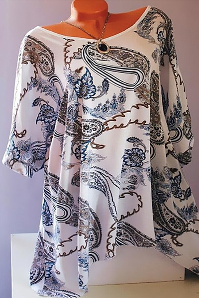 Round Neck Printed Loose-Fitting T-Shirts