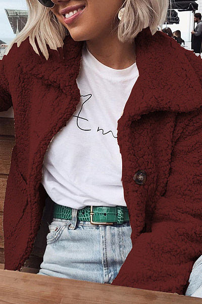 Winter Long Sleeve Pocket Button Plain Polar Fleece Mini Coats