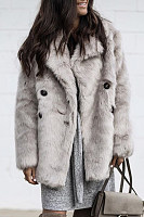 Fold-Over Collar Plain Decorative Buttons Faux Fur Outerwear