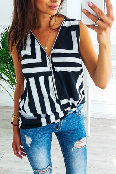 V Neck  Zipper  Print Camis