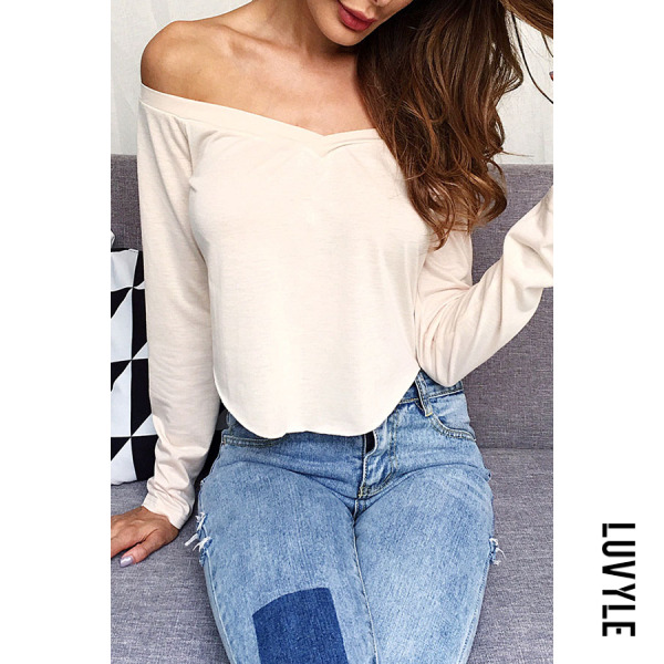 Khaki Off Shoulder Asymmetric Hem Exposed Navel Plain T-Shirts Khaki Off Shoulder Asymmetric Hem Exposed Navel Plain T-Shirts