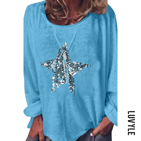 Blue Round Neck Star Printed T-Shirts Blue Round Neck Star Printed T-Shirts