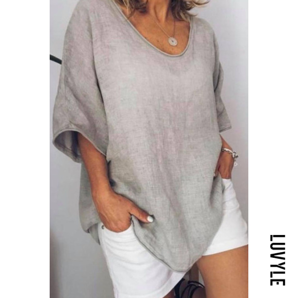 Gray Round Neck Plain T-Shirts Gray Round Neck Plain T-Shirts