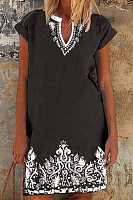 V Neck Folk-Custom Printed Casual Dress
