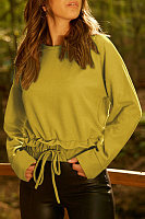 Round Neck  Drawstring  Plain Sweatshirts