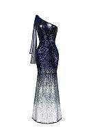 One Shoulder  Patchwork  Glitter  Gradient Party Dresses