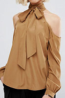 Halter Hollow Out Long Sleeve Chiffon Blouses