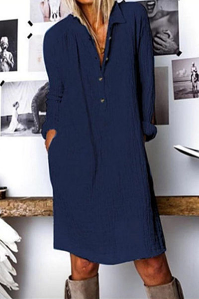 A Lapel Long Sleeve  Cotton And Linen Dress