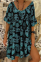 Plus Size Printed V Neck Mini Dress