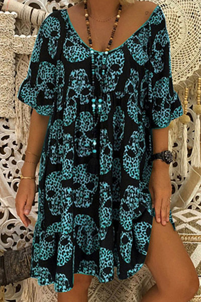 Plus Size Printed V Neck Mini Dress