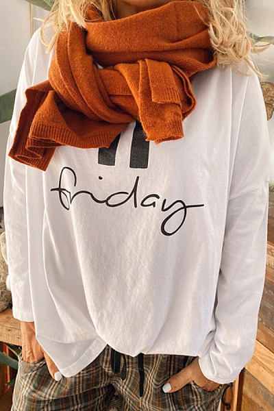 Fashion round neck print long sleeve t-shirt