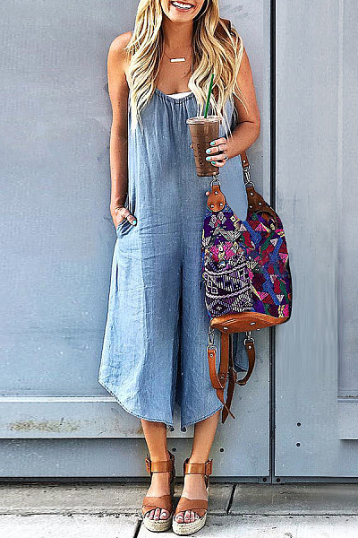 Sexy Slim Thin Jeans Wide Leg Denim Overalls
