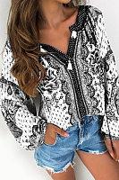 Fashion Printed V Collar Sun-Protective Blouses